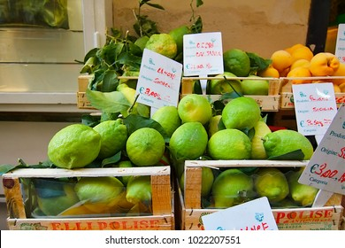 Fruits price list banners, Naples, Europe, Italy, 16 October, 2017.