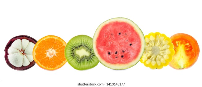fruits slice isolated on white background