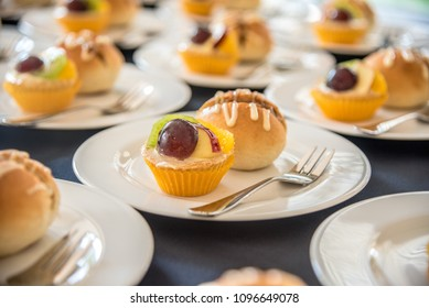 Fruits Tart And Bread On Plate, Coffee Break At Conference Meeting Business And Entrepreneurship.