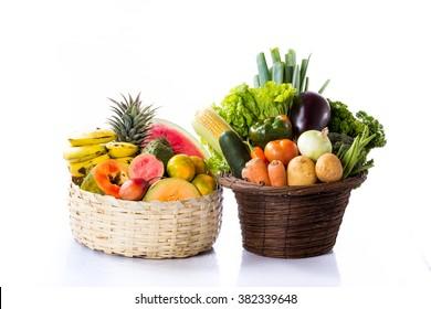 Fruits and Vegetables in Basket