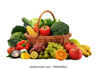 A fruits and vegetables basket in the white background - Shutterstock ID 1904562811