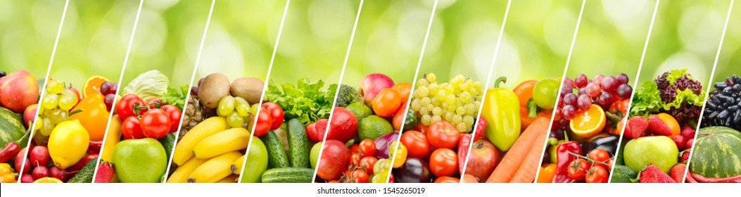 Fruits, vegetables, berries separated by oblique lines on green background. Wide panorama.