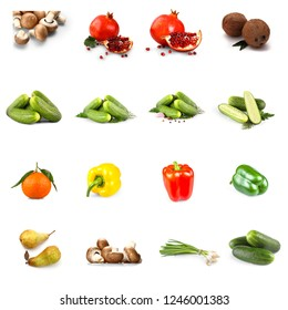 Fruits and vegetables collage, isolated on white