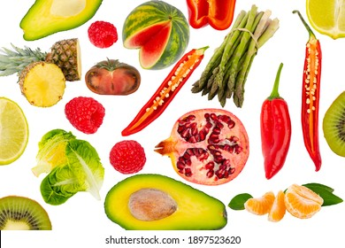 Fruits and Vegetables Collage isolated on white background Best product photography