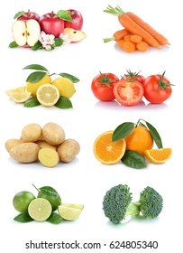 Fruits and vegetables collection apples oranges tomatoes broccoli vegetable food isolated on a white background