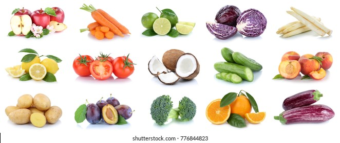Fruits and vegetables collection apples oranges potatoes vegetable food isolated on a white background