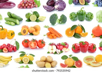Fruits and vegetables collection background isolated apples lemons oranges berries lettuce colors tomatoes fruit on a white background