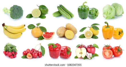Fruits and vegetables collection isolated apple banana potatoes colors fresh fruit on a white background