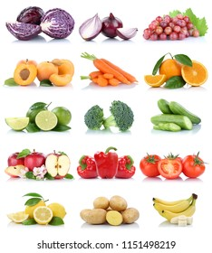 Fruits and vegetables collection isolated apple tomatoes orange carrots banana colors fresh fruit on a white background