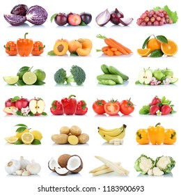 Fruits and vegetables collection isolated apple garlic orange grapes banana colors fresh fruit on a white background
