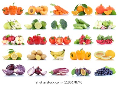 Fruits and vegetables collection isolated apple tomatoes orange grapes colors fresh fruit on a white background