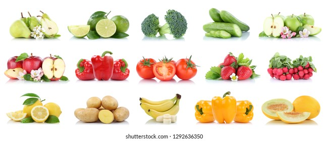 Fruits and vegetables collection isolated apple tomatoes colors fresh fruit on a white background