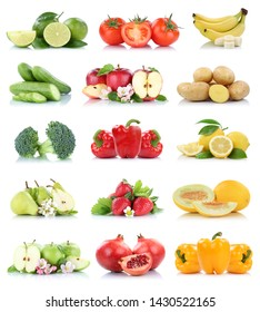 Fruits vegetables collection isolated apple apples bell pepper tomatoes banana colors fresh fruit on a white background