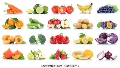 ObstGemüsesammlung einzeln auf Apfeläpfeln Orangen-Trauben Tomaten Bananenfarben frisches Obst auf weißem Hintergrund