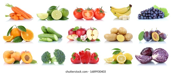 Fruits vegetables collection isolated apple apples oranges tomatoes banana colors fresh fruit on a white background
