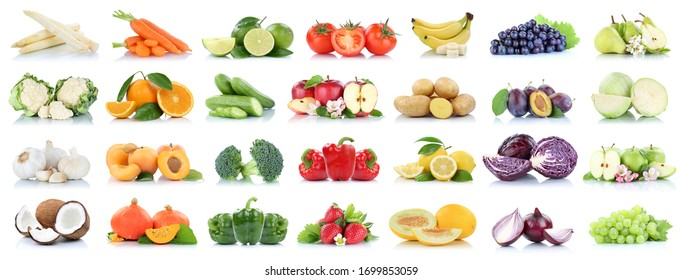 Fruits vegetables collection isolated apple apples oranges garlic tomatoes banana colors fresh fruit on a white background