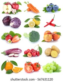 Fruits and vegetables collection isolated apple orange grapes cherries carrots carrot fresh fruit on a white background