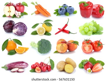 Fruits and vegetables collection isolated apple orange cherries tomatoes fresh fruit on a white background