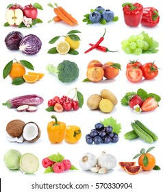Fruits and vegetables collection isolated apple orange bell pepper cabbage tomatoes fresh fruit on a white background