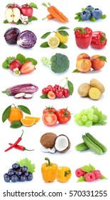 Fruits and vegetables collection isolated apple orange cucumber carrots carrot fresh fruit on a white background