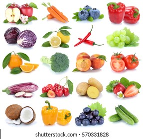 Fruits and vegetables collection isolated apple orange bell pepper tomatoes fresh fruit on a white background