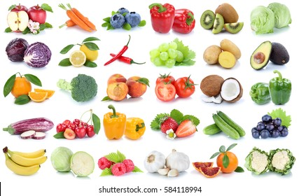 Fruits and vegetables collection isolated apple orange banana grapes lettuce tomatoes fresh fruit on a white background