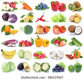Fruits and vegetables collection isolated apple orange banana grapes tomatoes fresh fruit on a white background
