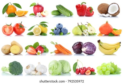 Fruits and vegetables collection isolated apple oranges tomatoes lettuce lemon berries fruit on a white background