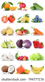 Fruits and vegetables collection isolated apple oranges carrots banana lemon berries fruit on a white background