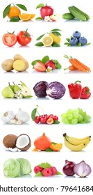 Fruits and vegetables collection isolated apple oranges carrots lettuce lemon berries fruit on a white background