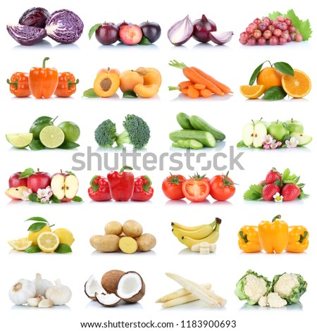 Fruits Vegetables Collection Isolated Apple Garlic Stock Photo Edit