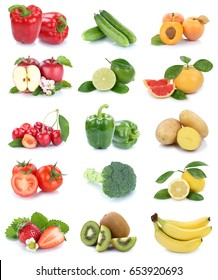 Fruits and vegetables collection isolated apples tomatoes strawberries colors fresh fruit on a white background