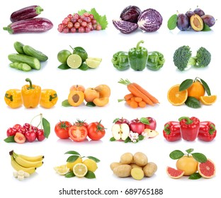 Fruits and vegetables collection isolated apples banana oranges lemons colors tomatoes fruit on a white background