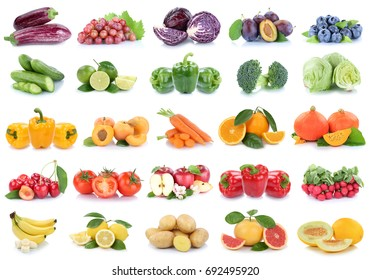 Fruits and vegetables collection isolated apples lemons oranges berries lettuce colors tomatoes fruit on a white background