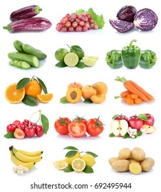 Fruits and vegetables collection isolated apples banana oranges lemons bell pepper colors tomatoes fruit on a white background