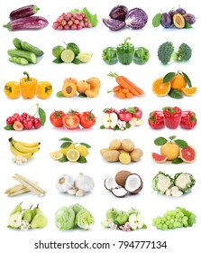 Fruits and vegetables collection isolated apples banana oranges lemons grapes colors tomatoes fruit on a white background