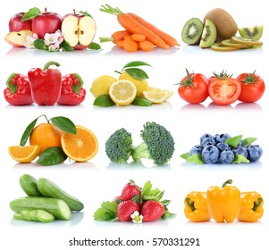 Fruits and vegetables collection isolated orange apple strawberries bell pepper tomatoes fresh fruit on a white background