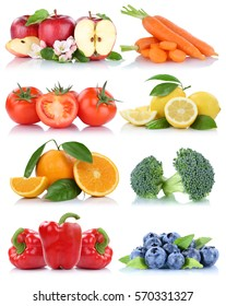 Fruits and vegetables collection isolated orange apple berries tomatoes fresh fruit on a white background