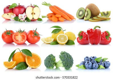 Fruits and vegetables collection isolated orange apple berries bell pepper tomatoes fresh fruit on a white background