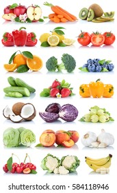 Fruits and vegetables collection isolated orange apple lettuce bananas tomatoes fresh fruit on a white background