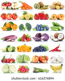 Fruits and vegetables collection isolated orange apple grapes cucumber tomatoes bananas lettuce fresh fruit on a white background