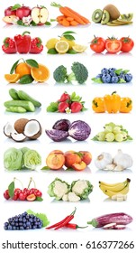 Fruits and vegetables collection isolated orange apple lettuce bananas fresh fruit on a white background
