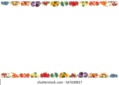 Fruits and vegetables copyspace border copy space apple peach berries tomatoes fresh fruit