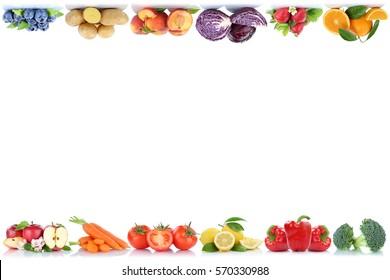 Fruits and vegetables copyspace border copy space apple orange peach berries tomatoes fresh fruit