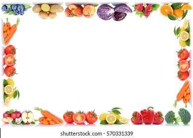 Fruits and vegetables copyspace frame border copy space apple orange peach berries tomatoes fresh fruit