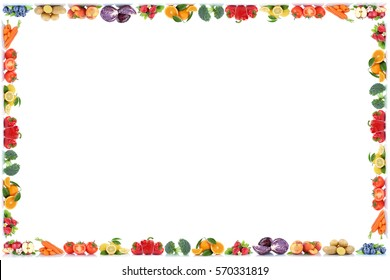 Fruits and vegetables copyspace frame border copy space apple peach berries tomatoes fresh fruit