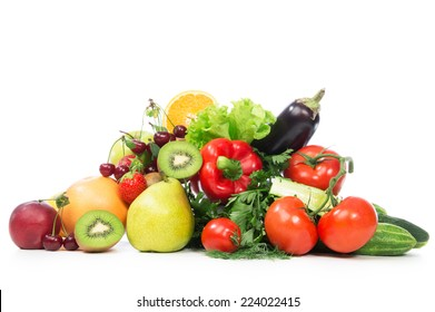 Fruits and vegetables diet weight loss morning breakfast concept  organic green apple egg plant orange tomatoes cucumbers parsley kiwi grapefruit salad peach cherries on table white background
