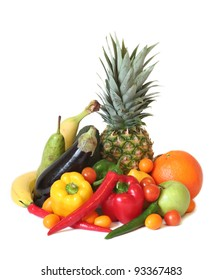 Fruits and vegetables of different kind in delicious arrangement.