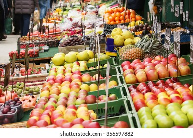 Fruits and vegetables at a farmers market.