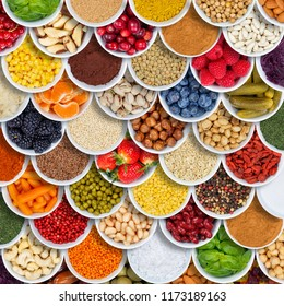 Fruits and vegetables food background spices ingredients square berries from above fruit